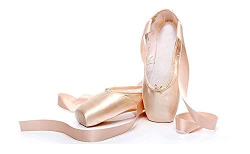 CYSTYLE Damen Mädchen Satin Spitzenschuhe Ballettschläppchen Ballettschuhe Tanzschuhe Ballett Trainings Schläppchen mit Silikonhülle (EU 34=Asia 36, Fleisch)