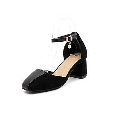 Zormey Damen Sandalen Sommer Herbst Comfort Ankle Strap Pu Fleece Büro & Amp; Karriere Dress Casual Ferse Imitation Pearl Schnalle Split Jointred US4-4.5 / EU34 / UK2-2.5 / CN33