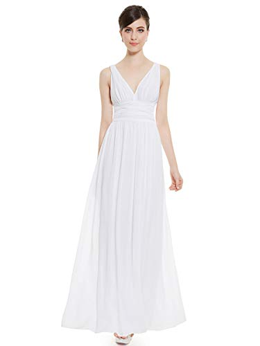 Ever-Pretty V-Col Longue Robe de Cocktail 40 Blanc