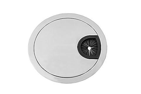 GedoTec® Design Kabeldurchlass Kabeldurchführung STYLE rund | Stahl Chrom matt | Kabelführung zum Eindrücken | Ø 80 mm | für Schreibtische, Bürotische uvm. | Markenqualität für Ihren Wohnbereich