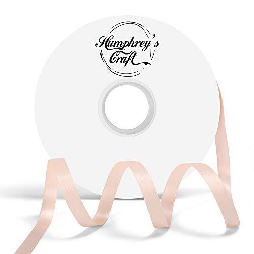 Humphrey's Craft Satinband, doppelseitig, 0,9 cm, 100% Polyester, 50 m Petal Peach (Peach Doppelseitiges Satin-band)