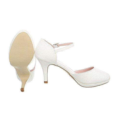 Ital-Design Scarpe da Donna Scarpe Col Tacco Tacco a Spillo Scarpe Col Tacco con Cinturino crème 5015-20