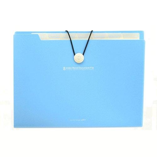 LeiTop Tragbare Akkordeon-Dokumentenmappe, mit 8 Fächern, DIN A4, wasserdicht, mit Gummiband, mit Index hellblau