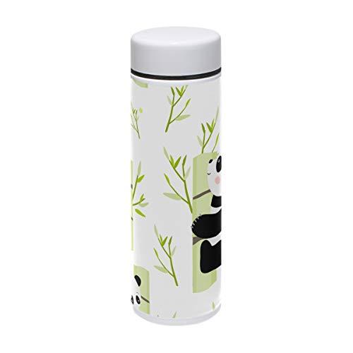 TIZORAX Pandas auf Bambus Edelstahl-Sport-Trinkflasche Vakuum-Thermoskanne für Outdoor, Camping,...