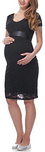 Be Mammy Damen Umstandskleid Festlich aus Spitze Kurze Ärmel Maternity Schwangerschaftskleid BE20-162