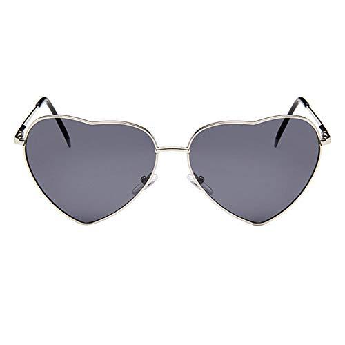 Drawihi Persönlichkeit Romantische herzförmige Sonnenbrille Polarisierte Sonnenbrillen Brille UV400 Schutz Unisex für Fahren von Reisen im Freien(Grau)