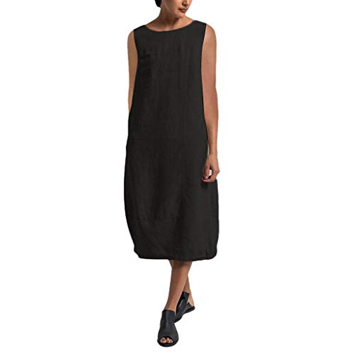 Overdose Damen Freizeit Kleider Blusenkleider Lässige Rundhals Einfarbig Casual Urlaub Sommerkleider Strandkleid Midi Dress Frauen kostüme übergröße -