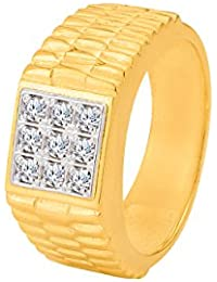 Dare By Voylla Decent CZ Stones Studded Gold Plated Adjustable Ring Men & Him