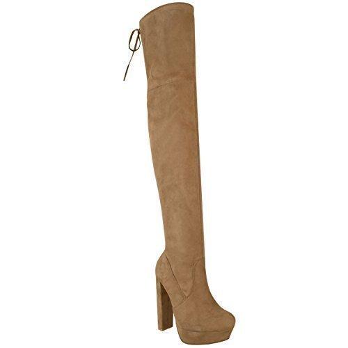 Damen Hoch Schenkelhoch Stiefel Overknee Party Plateau High Heels Größe Mokkabraun Kunstwildleder