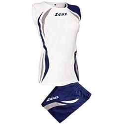 Zeus Kit Klima Voleibol Complementando Para Las Mujeres Colour Blanco-Azul-Plata (XL)