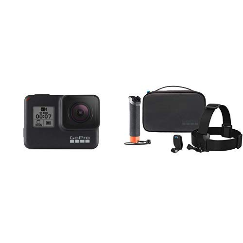 GoPro HERO7 Schwarz - wasserdichte digitale Actionkamera mit Touchscreen, 4K-HD-Videos, 12-MP-Fotos, Livestreaming, Stabilisierung + Abenteuer-Kit