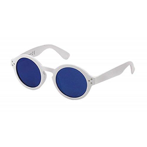 Sonnenbrille Retro Round Glasses 400 UV Schlüssellochsteg drei Zierpunkte weiß