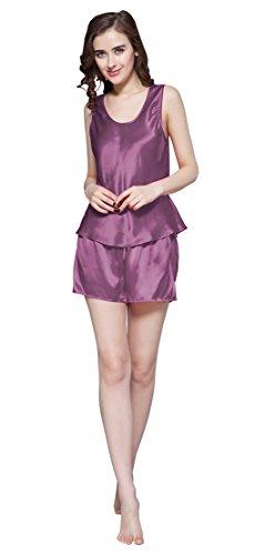 Lilysilk Schlicht 22 Momme Seide Pyjamas Set Damen Nachwäsche Nachtkleid Seide Violett