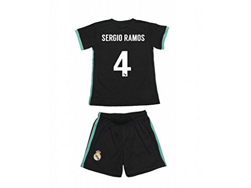Equipación Sergio Ramos. Réplica Oficial de la Segunda Equipación Real Madrid Temporada 2017-2018. - Talla 12, Primera equipación