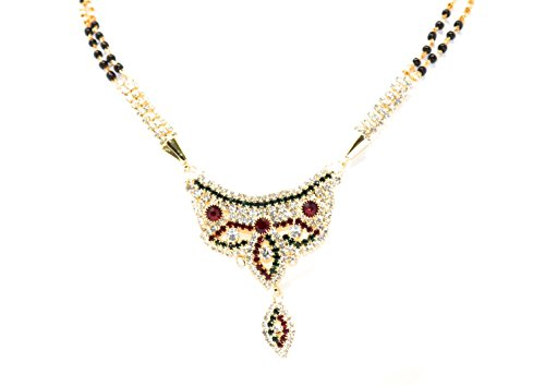 Crown Inglis Lady Suitable Traditional Immitation Jewellery Gold American Diamond Plated Golden Brass Earrings Drop Earring Imitation Stone Mangalsutra Necklace Set Black Bead Chain for Women