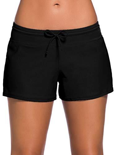 Ocean Plus Damen Unifarben Badeshorts mit Verstellbarem Tunnelzug Wassersport UV-Schutz Bikinihose Boardshorts Hotpants (M (EU 36-38), Schwarz)