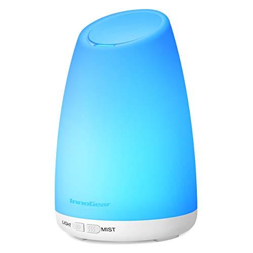 InnoGear Aroma Diffuser, 150 ml Ultraschall Luftbefeuchter für Ätherisches Öl mit 7 Farben LED Licht, Automatisch Abschalt, Elektrisch Duftlampe für Raum Wohnzimmer Büro, Weiß