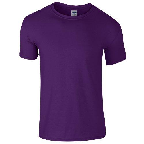 Gildan Soft-Style Herren T-Shirt, Kurzarm, Rundhalsausschnitt XXL,Lila (Für Lila Shirt Herren)