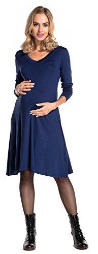Happy Mama Damen Umstands Midi Schaukel Kleid Schwangerschaft V-Ausschnitt. 658p Marine