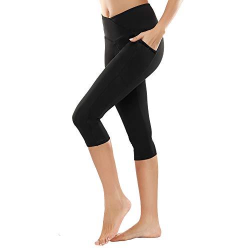 SIMIYA Damen Leggings, Lang Frauen Sporthose, Stretch und Hohe Taille, 1 Pack(Schwarz 3/4 Hose,L)