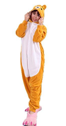 Honeystore Unisex Bär Kostüm Erwachsene Tier Jumpsuits Onesie Pyjamas Nachthemd Nachtwäsche Cosplay Overall Hausanzug Fastnachtskostüm Karnevalskostüme Faschingskostüm Kapuzenkostüm M