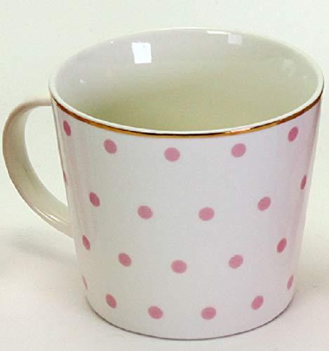 Porzellan Becher ROSA weiß Punkte Service Geschirr Goldrand Kaffee Tasse Mug