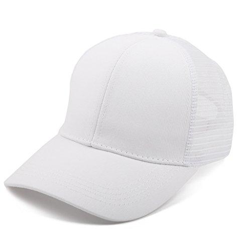 men Mesh Pferdeschwanz Baseball Hut Atmungsaktiv Sonnenhut Sonnenschutz Mädchen Kappe Schirmmütze Einheitsgröße Kopfumfang 52-61cm Weiß ()