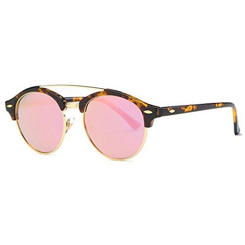 kimorn Polarisiert Sonnenbrille Unisex Retro Halb-Randlos Twin-Balken Eyewear AE0504 (Schildpatt&Rosa, 51)