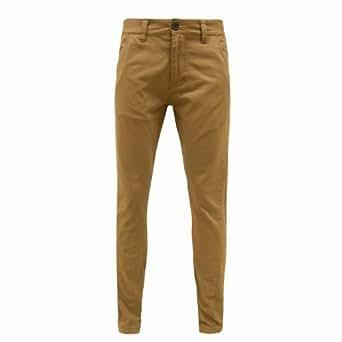 Bellfield - ENVY BOUTIQUE Pantalon Jean Homme Couture Torsadé Cigarette Moulant Jambe Droite Chino - W28 38 Standard, Tabac