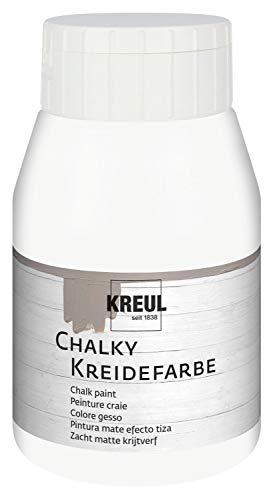 Kreul 75111 - Chalky Kreidefarbe, sanft - matte Farbe, cremig deckend, schnelltrocknend, für Effekte im Used Look, 500 ml Kunststoffflasche, White Cotton