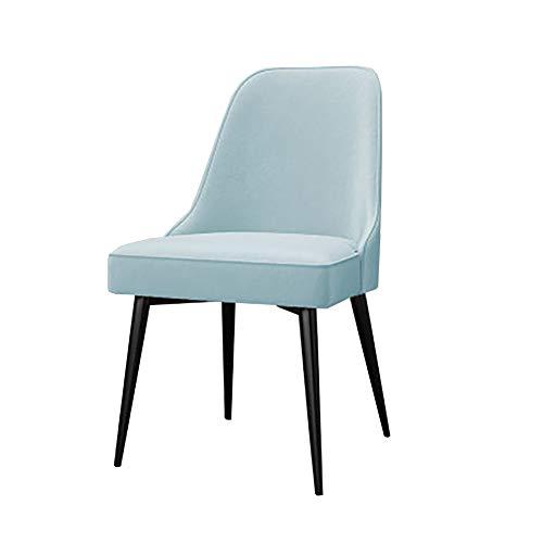 Esszimmerstühle YXX Wohnzimmer Armless Lounge Back Chair mit Samtsitz, moderner Blauer Esstischstuhl aus Metall für die Küche (Farbe : SCHWARZ, größe : Set of 6)