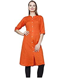 Pistaa Women's Best Solid Cotton Comfort Casual Orange Kurta With Plus Size