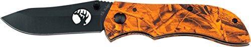Elk Ridge ER-015 Serie, Taschenmesser Griff in ORANGE CAMO Design, 7,9cm Outdoormesser ROSTFREI Klinge für Fischen/ Angeln/ Camping, leichtes 137gr Klappmesser - Camo Taschenmesser