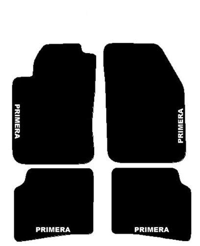 Nissan Primera P11 partir de 1990 à 1996 Tapis de voiture, Set complet de tapis sur mesure en moquette noirs avec broderie à fil Bianco