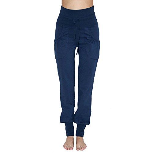 Leela Cotton Damen Yoga-Hose Bio-Baumwolle/Elasthan, Navy, Gr. XL