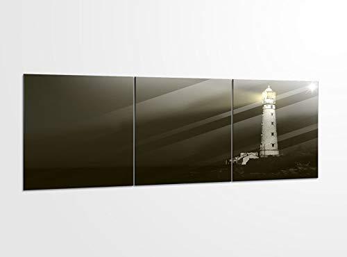 Acrylglasbilder 3 Teilig 150x50cm Leuchtturm Nacht Lichtstrahl Meer_ Acrylbild Bilder Acrylglas Wand Bild Kunstdruck 14?5510, Acrylglas Größe 6:BxH Gesamt 150cmx50cm