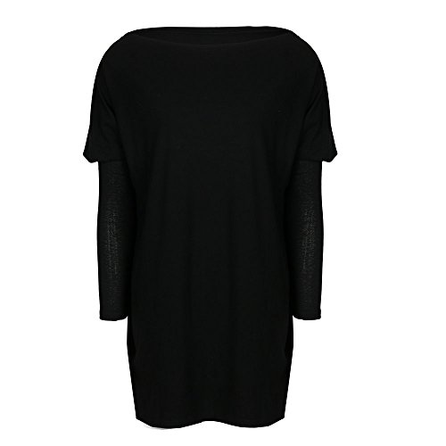 CoCo Fashion Damen Lose Bluse Fledermaus Langarm Pullover Normallacks Shirt Casual Oberteil Übergröße Schwarz