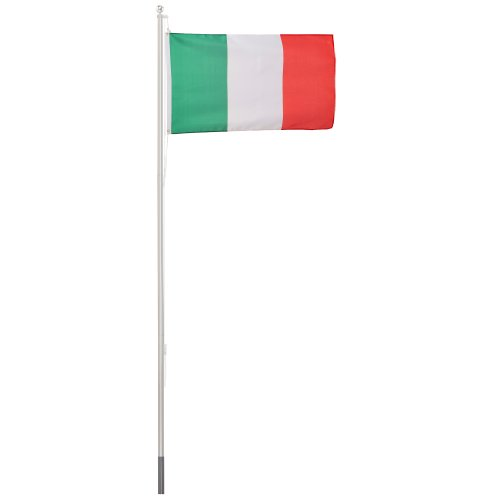 Ultranatura Fahnenmast 6.2 Meter, 150 x 90 cm, mit Italienflagge