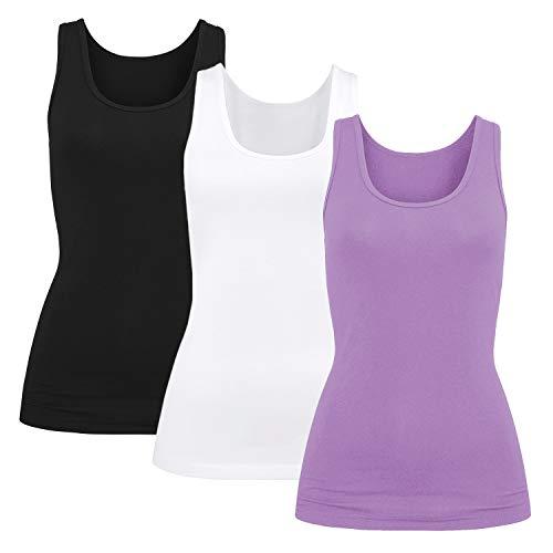 3er Pack Damen BH-Hemd Unterhemd Basic Tank Tops Weiten Trägern Ohne Bügel mit Cups(Schwarz/weiß/violett, M)
