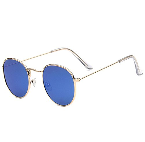 QQBL Retro- Farbenfrohe Reflektierende Sonnenbrille des Unisextrend-Runden Rahmens Retro- Wechselstroms,Blue