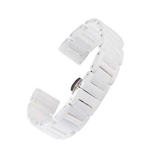 Beauty7 Unisex Keramik Uhrenarmband Weiß/Schwarz mit Faltschließe WBL00021BD20a (Für Frauen Metall-uhrenarmbänder)