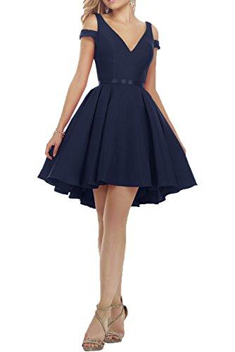 Charmant Damen Rot Einfach Satin Cocktailkleider Kurz Abendkleider Partykleider Knie-lang A-linie Tanzenkleider Navy Blau