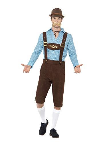 SMIFFYS CostumeFesta della Birra,Blu e Marrone,con Camiciaed Eco Lederhosen scamosciat