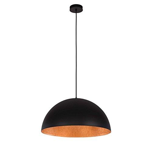 Paris Prix - Lampe Suspension Design Tuba 90cm Noir & Cuivre