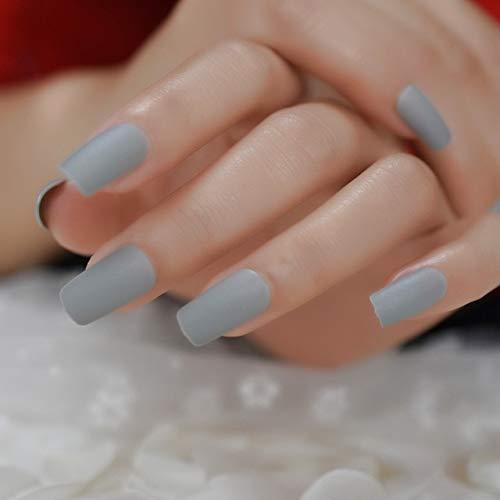 NJIANGHUA Gefälschte Nägel Blaues Mattes Quadrat Gegenüber Gefälschten Spitzen Chrom Moo Mode Mittellange Acrylnägel Mittellange Gefälschte Nägel