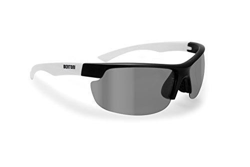 Bertoni Sonnenbrille Photochromic Radfahren MTB Fahrrad Running Fischerei und Golf-Linse 100% UV und Winddicht by iWear-F300, Herren, Nero opaco / Bianco opaco