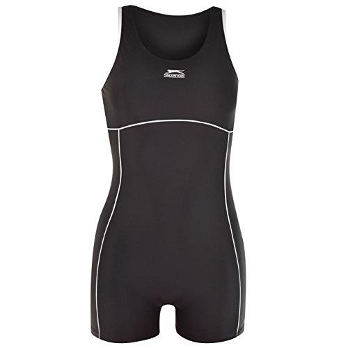 Slazenger Damen Boyleg Badeanzug mit Bein Schwimmanzug Bademode Schwimmen Strand Schwarz 16 (XL)