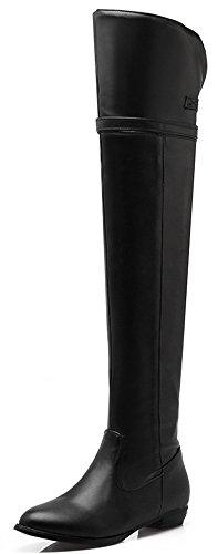 Damen Overknee-Blockabsatz flache lange Reit Biker Schnalle wasserdichte Winter Zip Lederstiefel EU 35 Schwarz (Stiefel Groß-mokassin)