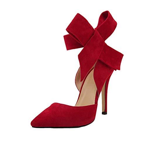 Dorical Damen Pumps Plateau Stiletto/Sommer Wildleder Sandaletten Moderne High Heels Sexy Party Hochzeit Schuhe Sandalen Mit einer großen Bogen Fliege(Rot,37 EU) (Rote Glitzer High Heels)
