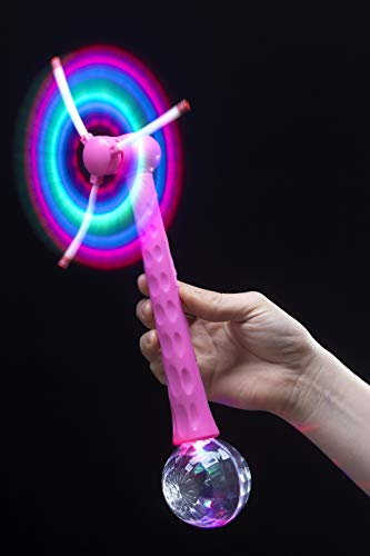hen Leuchtende Windmühle mit Disco Ball, Pink, 25371 ()